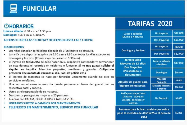 Cerro Monserrate Funicular 2020 Tarifas y Horarios