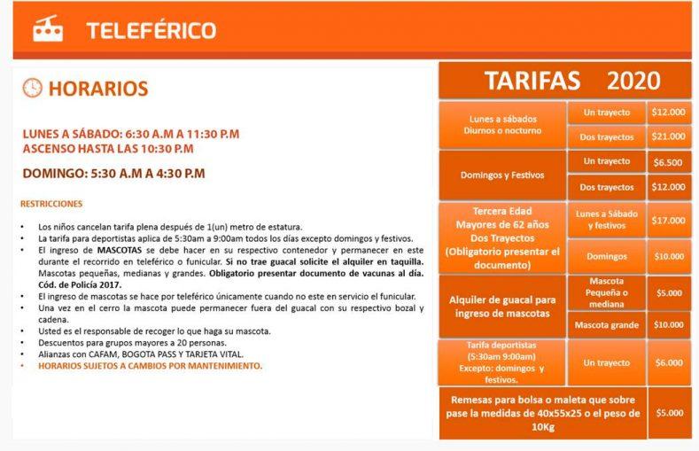 Cerro Monserrate Teleferico 2020 Tarifas y Horarios