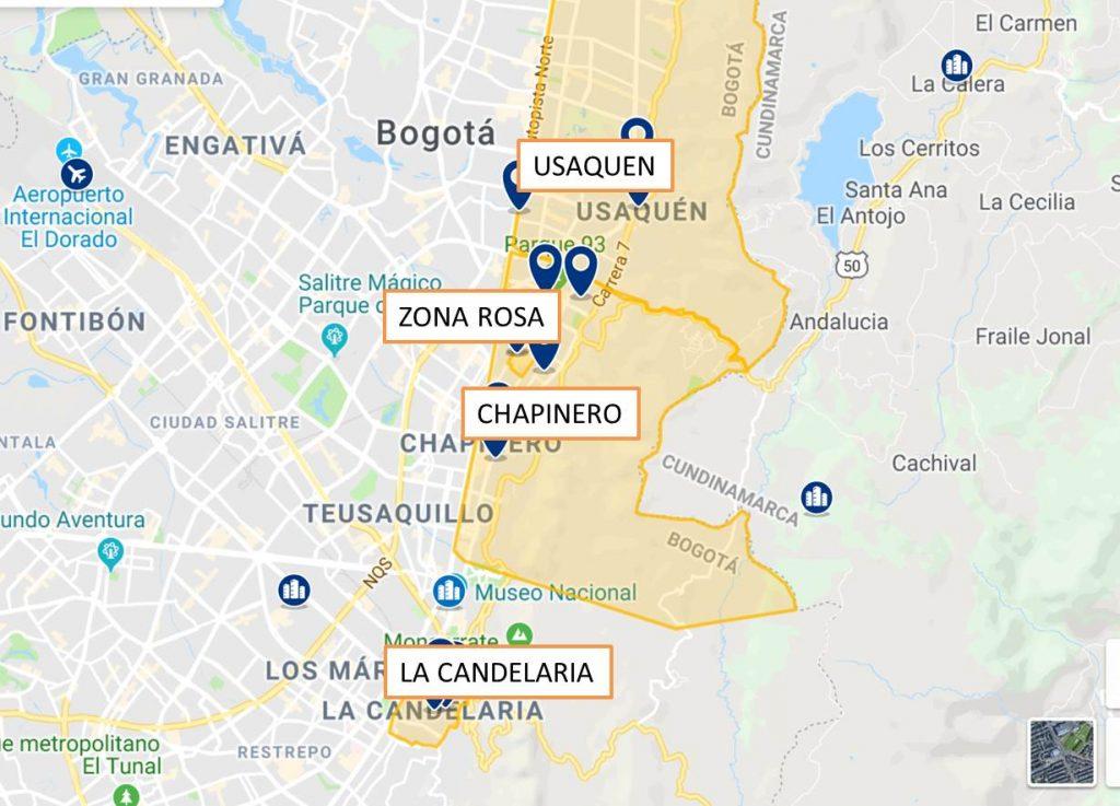 Donde alojarse en Bogota Mapa de Barrios y zonas