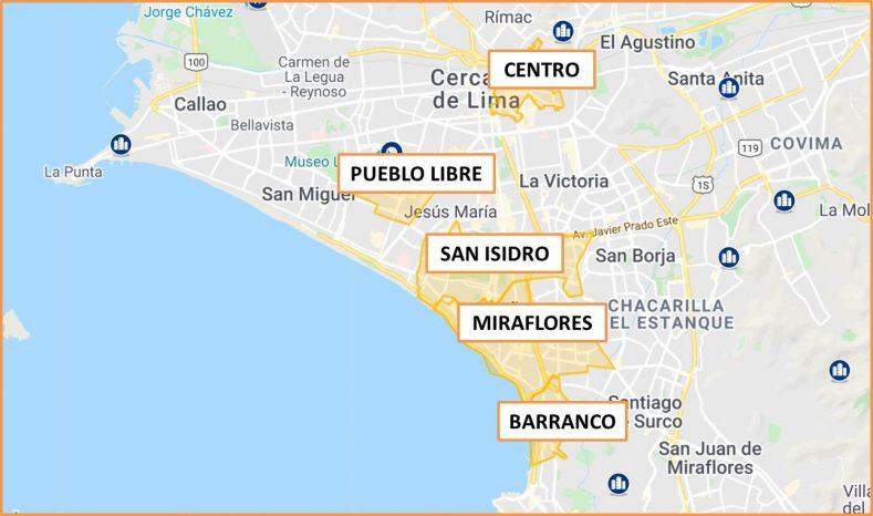 Donde alojarse en Lima Peru Mapa de Barrios